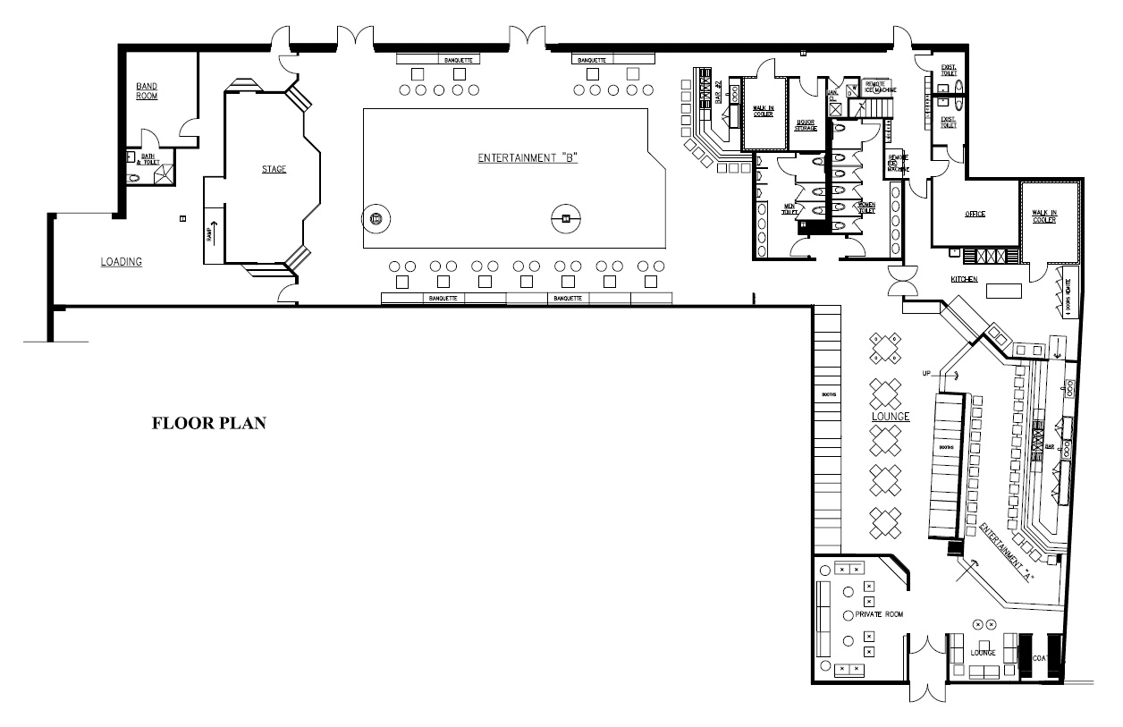 Dexter s nightclub goldman design group for Nightclub floor plans